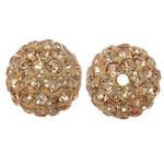 Rrëshirë Beads diamant i rremë, Round, asnjë, me diamant i rremë, Silver shampanjë, 10x10mm, : 1mm, 10PC/Qese,  Qese