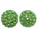 Rrëshirë Beads diamant i rremë, Round, asnjë, me diamant i rremë, Gjelbër fier, 10x10mm, : 2mm, 10PC/Qese,  Qese