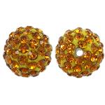 Harz Perlen Strass, rund, mit Strass, Topas, 10x10mm, Bohrung:ca. 1.5mm, 10PCs/Tasche, verkauft von Tasche