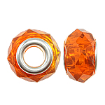 European Beads Crystal, Kristal, Rondelle, core argjendi i pastër me dy pa karrem, Zjarri Opal, 14x9mm, : 5mm, 20PC/Qese,  Qese