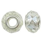 European Beads Crystal, Kristal, Rondelle, core argjendi i pastër me dy pa karrem, Kristal, 14x9mm, : 5mm, 20PC/Qese,  Qese