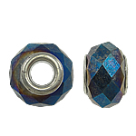 European Beads Crystal, Kristal, Rondelle, core argjendi i pastër me dy pa karrem, Ngjyra metalike praruar, 14x9mm, : 5mm, 20PC/Qese,  Qese