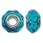 European Beads Crystal, Kristal, Rondelle, core argjendi i pastër me dy pa karrem, Akuamarin, 14x9mm, : 5mm, 20PC/Qese,  Qese