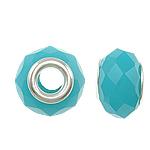 European Beads Crystal, Kristal, Rondelle, core argjendi i pastër me dy pa karrem, Bruz, 14x9mm, : 5mm, 20PC/Qese,  Qese