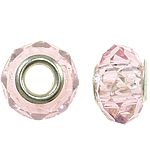 European Beads Crystal, Kristal, Rondelle, core argjendi i pastër me dy pa karrem, Vintage Rose, 14x9mm, : 5mm, 20PC/Qese,  Qese