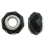 European Beads Crystal, Kristal, Rondelle, core argjendi i pastër me dy pa karrem, Reaktiv, 14x9mm, : 5mm, 20PC/Qese,  Qese