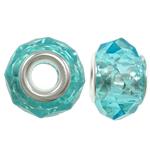 European Beads Crystal, Kristal, Rondelle, core argjendi i pastër me dy pa karrem, Akuamarin, 14x8mm, : 5mm, 20PC/Qese,  Qese