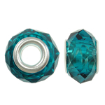 European Beads Crystal, Kristal, Rondelle, core argjendi i pastër me dy pa karrem, Indicolite, 14x9mm, : 5mm, 20PC/Qese,  Qese