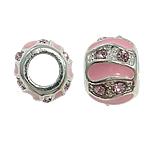Zink Legierung Europa Perlen, Zinklegierung, Rondell, ohne troll & Emaille & mit Strass, Rosa, frei von Nickel, Blei & Kadmium, 10x8mm, Bohrung:ca. 5mm, 10PCs/Tasche, verkauft von Tasche
