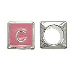 Beads European aliazh zink, Alloy zink, Kub, asnjë, pa karrem & smalt, rozë, , nikel çojë \x26amp; kadmium falas, 7x7mm, : 5mm, 10PC/Qese,  Qese