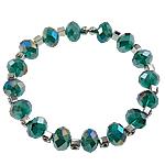 Bracelets Crystal, Kristal, with Tunxh, Rondelle, faceted & me diamant i rremë, Smerald, 7x10mm, :7Inç, 50Fillesat/Qese,  Qese