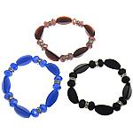 Bracelets Crystal, Kristal, with Rrëshirë & Tunxh, Rondelle, faceted & me diamant i rremë, ngjyra të përziera, 19.5x12x9mm, 10x7.5mm, : 7Inç, 20Fillesat/Shumë,  Shumë
