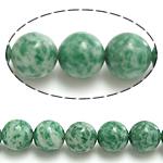 Grüner Tupfen Stein Perlen, grüner Punkt Stein, rund, natürlich, 10mm, Bohrung:ca. 1mm, Länge:ca. 15 ZollInch, 10SträngeStrang/Menge, ca. 37PCs/Strang, verkauft von Menge