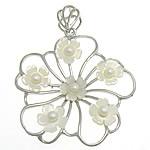 Pendants Natyrore White Shell, Lule, natyror, e bardhë, 45x47x6mm, : 6x9mm, 10PC/Shumë,  Shumë