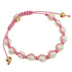 Ujërave të ëmbla Pearl Shamballa Bracelets, Pearl kulturuar ujërave të ëmbla, with Cord Wax & Diamant i rremë & Alloy zink, Shape Tjera, e bardhë, 9x10mm, :75Inç,  75Inç,