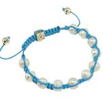 Ujërave të ëmbla Pearl Shamballa Bracelets, Pearl kulturuar ujërave të ëmbla, with Cord Wax & Diamant i rremë & Alloy zink, Shape Tjera, e bardhë, 8.50mm, :7.5Inç,  7.5Inç,