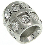 Beads European aliazh zink, Alloy zink, Tub, ngjyrë platin praruar, pa karrem & me diamant i rremë, asnjë, , nikel çojë \x26amp; kadmium falas, 9.80x10mm, : 5mm, 50PC/Qese,  Qese