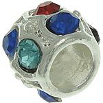 Beads European aliazh zink, Alloy zink, Daulle, Ngjyra argjend praruar, pa karrem & me diamant i rremë, asnjë, , nikel çojë \x26amp; kadmium falas, 11.50x9.50mm, : 5.5mm, 50PC/Qese,  Qese
