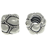 925 Sterling Silver Beads European, Daulle, argjend praruar vërtetë, pa karrem, 8x10mm, : 4mm,  PC
