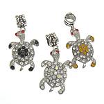 Zink Alloy European Pendants, Alloy zink, Kafshë, ngjyrë platin praruar, me diamant i rremë, asnjë, , nikel çojë \x26amp; kadmium falas, 18.30x36.50x8mm, : 5.7mm, 50PC/Qese,  Qese