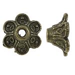 Zinklegierung Perlenkappe, Blume, antike Bronzefarbe plattiert, frei von Blei & Kadmium, 9x6mm, Bohrung:ca. 1.5mm, ca. 3330PCs/Tasche, verkauft von Tasche