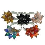 Ring Finger Crystal, Kristal, with Hekur, Lule, ngjyra të përziera, 6x8mm, : 18-20mm, 50PC/Kuti,  Kuti