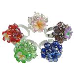 Ring Finger Crystal, Kristal, Lule, ngjyra të përziera, 6x8mm, : 18-19mm, 50PC/Kuti,  Kuti