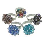 Ring Finger Crystal, Kristal, with Hekur, ngjyra të përziera, 4x6mm, : 18-20mm, 50PC/Kuti,  Kuti