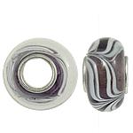 Lampwork Style European, Rondelle, core bronzi vetme pa karrem, 13x7.50mm, : 4.5mm, 20PC/Qese,  Qese