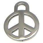 Edelstahl Schmuck Anhänger, Frieden Logo, originale Farbe, 14x19x1.50mm, Bohrung:ca. 3mm, 100PCs/Menge, verkauft von Menge