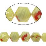 Millefiori Perlen, Kristall, Sechseck, gelb, 14x16x10mm, Bohrung:ca. 1.5mm, 20PCs/Strang, verkauft per 12 ZollInch Strang