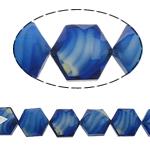 Millefiori Perlen, Kristall, Sechseck, blau, 14x16x10mm, Bohrung:ca. 1.5mm, 20PCs/Strang, verkauft per 12 ZollInch Strang