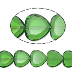 Beads Crystal Heart, Kristal, Zemër, Gjelbër fier, 16x16x8mm, : 1.5mm, :10.5Inç, 18PC/Fije floku,  10.5Inç,