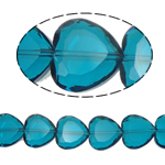 Beads Crystal Heart, Kristal, Zemër, Indicolite, 16x16x8mm, : 1.5mm, :10.5Inç, 18PC/Fije floku,  10.5Inç,