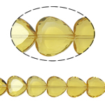 Beads Crystal Heart, Kristal, Zemër, Lt Topaz, 16x16x8mm, : 1.5mm, :10.5Inç, 18PC/Fije floku,  10.5Inç,