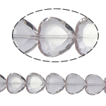 Beads Crystal Heart, Kristal, Zemër, Greige, 16x16x8mm, : 1.5mm, :10.5Inç, 18PC/Fije floku,  10.5Inç,