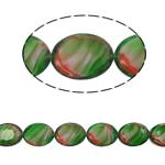 Millefiori Perlen, Kristall, oval, grün, 9x12x6mm, Bohrung:ca. 2mm, 30PCs/Strang, verkauft per 14 ZollInch Strang