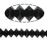 Doppelkegel Kristallperlen, Kristall, Untertasse, Jet schwarz, 4x6mm, Bohrung:ca. 2mm, ca. 80PCs/Strang, verkauft per 13 ZollInch Strang