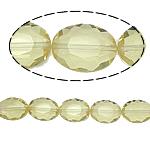 Beads Ovale Crystal, Kristal, asnjë, Gëlqere, 12x16x8mm, : 2mm, :15.7Inç, 25PC/Fije floku,  15.7Inç,