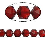 Gjashtëkëndësh Beads Crystal, Kristal, Siam, 13x16x11mm, : 1.5mm, :12Inç, 20PC/Fije floku,  12Inç,