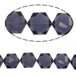 Gjashtëkëndësh Beads Crystal, Kristal, Violet errët, 13x16x11mm, : 1.5mm, :12Inç, 20PC/Fije floku,  12Inç,