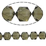 Gjashtëkëndësh Beads Crystal, Kristal, Greige, 13x16x11mm, : 1.5mm, :12Inç, 20PC/Fije floku,  12Inç,