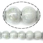 Beads pearlized Porcelani, Round, i praruar, gri, 9-10x11mm, : 2mm, 100PC/Qese,  Qese