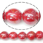 Beads pearlized Porcelani, Round, i praruar, i kuq, 12mm, : 2.5mm, 100PC/Qese,  Qese