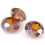 European Beads Crystal, Kristal, Rondelle, pa karrem, Topaz tymosur, 8-9x14-15mm, : 6mm, 100PC/Qese,  Qese