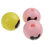 Alphabet Acryl Perlen, rund, gemischte Farben, 10mm, Bohrung:ca. 1.5mm, 950PCs/Tasche, verkauft von Tasche