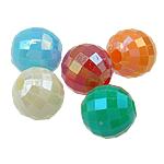 AB-ngjyra akrilik Beads kromuar, Round, Ngjyra AB kromuar, ngjyra të forta, ngjyra të përziera, 6mm, : 1.5mm, 4800PC/Qese,  Qese