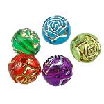 Gemischte Acrylperlen, Acryl, Blume, Silberdruck, gemischte Farben, 8mm, Bohrung:ca. 1mm, 2000PCs/Tasche, verkauft von Tasche