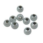 Traumhafte Acrylperlen, Acryl, rund, stumpfnattes Silber, 5mm, Bohrung:ca. 1mm, 7300PCs/Tasche, verkauft von Tasche