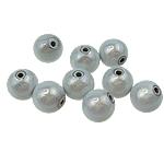 Beads akrilik Mrekulli, Round, matte argjendi, 12mm, : 2mm, 530PC/Qese,  Qese